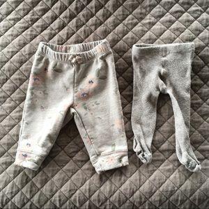 Baby Gap Girl Gray Pink Floral Sweatpants Tights